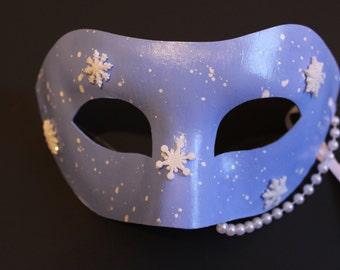 Blue mask with snowflakes