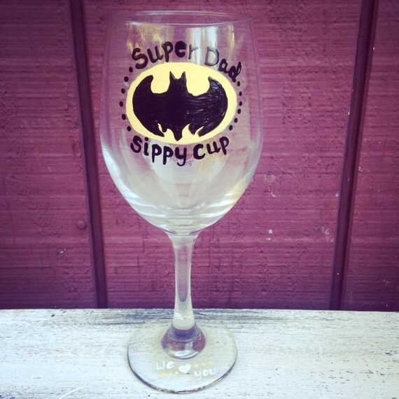 Batman dad wine glass super dad sippy cup wine gifts for for Super u champagne