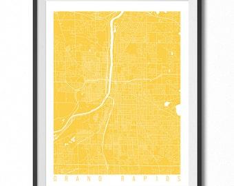GRAND RAPIDS Map Art Print / Michigan Poster / Grand Rapids Wall Art Decor / Choose Size and Color