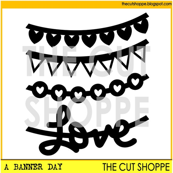 The A Banner Day cut file includes 4 banner themed icons, that can be used for your scrapbooking and papercrafting projects.