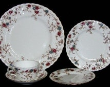 Minton China ANCESTRAL S376 *5 Piece Place Setting Wreath Backstamp Excellent Condition a 96.00 value