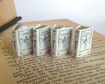 x4 Miniature Jane Austen Novels (double sided printed pages, with illustrations)