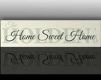 Hand painted Personalised wooden Home Sweet Home sign, custom made home plaque with family name