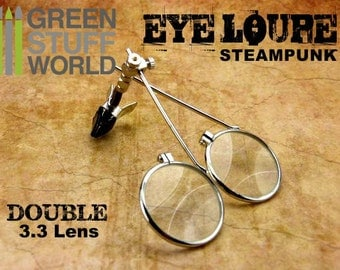 SteamPunk EYE LOUPE - DOUBLE magnifier magnifying - Clip On Type - Loopy for goggles