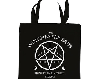The Winchester Bros, Supernatural tote, Hunting Evil tote bag