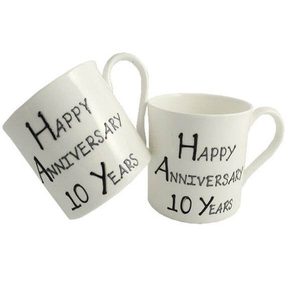 Items Similar To PERSONALISED Happy 10th Year Wedding Anniversary Gift Pair Of Fine Bone China