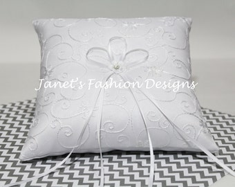 White Wedding Bridal Ring Bearer Pillow ~ Flower Strass Pillow ~ Silver Wedding Anniversary