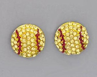Softball Rhinestone Post Style Earrings