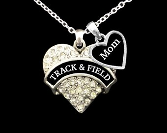 Track & Field Mom Rhinestone Heart Necklace