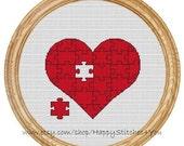 Cross Stitch Pattern PDF puzzle heart  DD0095