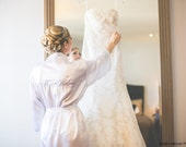 Personalized Mrs. Robe, Satin Bridal Robe with Mrs. Name Embroidered on the Back and Monogram on Front