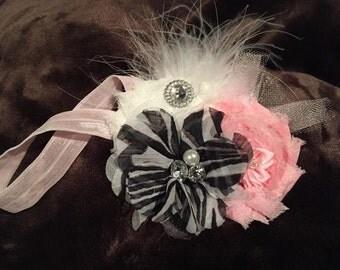 Pink and zebra headband
