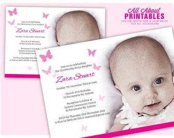 Butterfly Birthday/Christening Invite, Birthday/Christening Invitation Printable