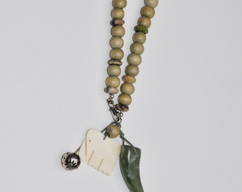 necklace in green with stones, silver and bone