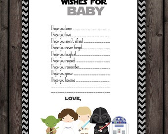 Wonderful Starwars Baby Shower Wishes For Baby, Star Wars Baby Shower Game, Instant  Download At