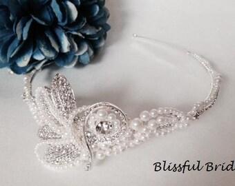 Crystal Pearl Wedding Tiara, Freshwater Pearl Wedding Headpiece, Pearl Bridal Headpiece, Rhinestone Headpiece, Crystal Pearl Tiara