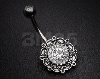 Vintage Filigree Flower Multi-Gem Belly Button Ring