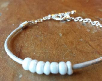 Thin silver leather beaded bracelet, minimalist bracelet