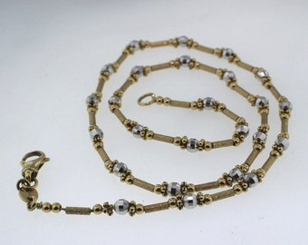 "14k Yellow & White Gold Necklace Chain Diamond Cut Exquisite Design 14gr 18"" L"