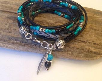 boho Beaded Wrap Bracelet, Custom,Leather Wrap,Charm Bracelet,Military, Zen, Personalized,Turquoise, Black