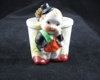 Vintage Porcelain made in japan pin cushion boy with large  pin cushion 1950's marked inedam