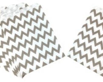 Chevron Grey Paper Treat Bags 24pcs Medium PTB010024 Gray Just Artifacts Brand