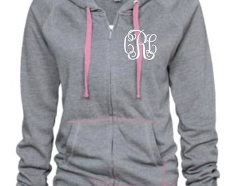 Ladies Campus Fleece Contrast Monogram Full Zip Hoodie