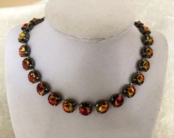 12mm swarovski crystal necklace- volcano- red -yellow- gold- bridesmaids jewelry- holiday jewelry- bracelet and earrings available