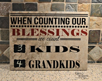 Grandparent Gift, When Counting our blessings we count..., Family Sign, Family Tile, Grandparents Gift,
