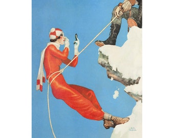 Vintage Poster Turin Exhibition Climber Snow Mountain Tourist Rustic Aged Finish Travel Poster Glam Art