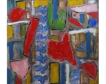 Mid-century Modern Embellished Abstract Painting