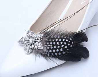 Set of 2 - Feather Shoe Clips, Sparkling Shoe Clips, Wedding Shoe Clips, Bridal Clips, Flower Shoe Clips, Rhinestone Bow