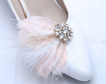 Set of 2 -Christmas Feather Shoe Clips, Shoe Clips, Wedding Shoe Clips, Bridal Clips, Champagne Rhinestone, Pink Feather Shoes Clips