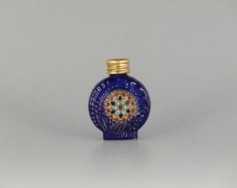 Czech Bohemian Jeweled Blue Glass Mini Perfume Bottle