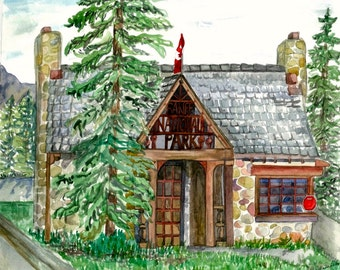"Banff National Park Toll Booth Canadian Rockies Watercolour Print ""Entrance to Banff"""