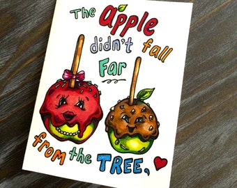 Sweet Hand Drawn Candy Apple Mother's Day Card - blank inside