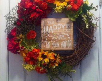 Happy Grapevine Wreath