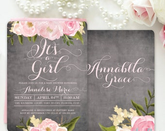 It's a Girl Baby Shower Invitation, Girl Baby Shower Invite, Floral Baby Shower Invite, Shabby Chic Pink Roses, Peonies - Emily