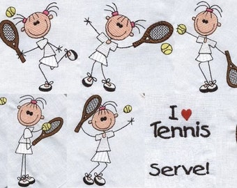 Girl Tennis Sticks with Sayings - INSTANT DOWNLOAD - Machine Embroidery - 4x4 hoop