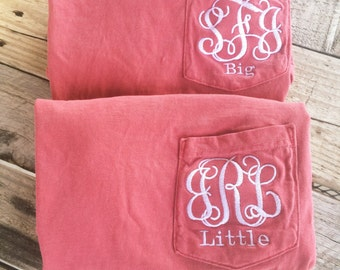 Big Little Shirts, Comfort Colors Sorority Short Sleeve Pocket Tees