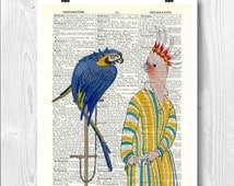 Lady parrot print, old french fashion, parakeet art, bird art, dictionary art, decorative arts, Fantasy print, wall hanging