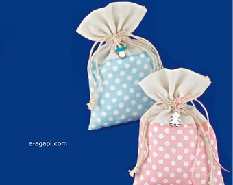 Cottage chic favors Christening favors sack Baptism Bombonieres Greece Baby shower favors ideas Handmade bombonieres baptism Polca dot 50 pc