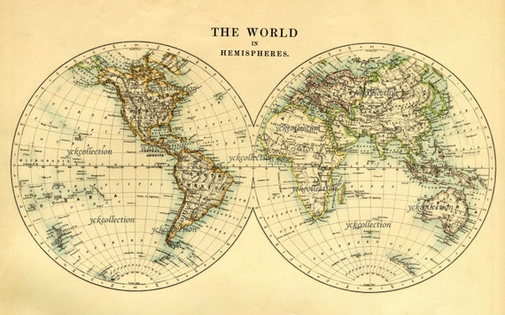 World Map Showing Hemispheres. Antique World Map in Hemispheres Vintage  1887 8 5 x 14 to 35 44 300 dpi Ultra High Resolution Instant Digital Download