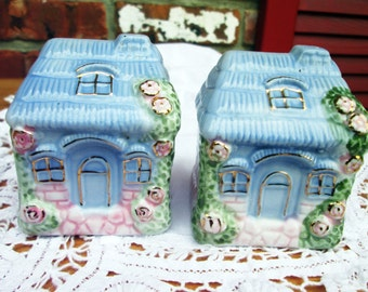 Irish Thatched Cottage set of salt and pepper shakers by Noble Bell