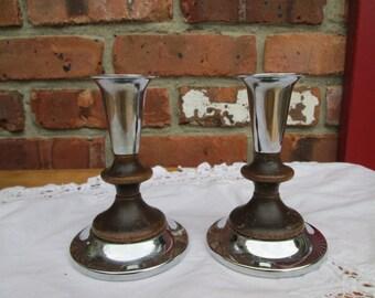 Kromex Chrome and Walnut candleholders Midcentury