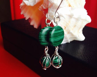 Wire wrapped malachite earrings in sterling silver, Green malachite earrings,OlgasUniqueJewelry,Gift for her