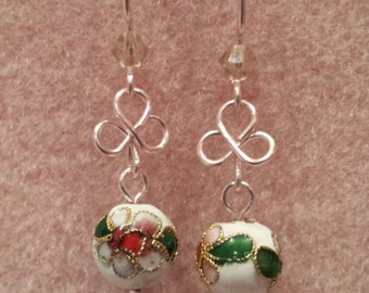 Genuine Cloisonne beads with Swarovski crystals dangle earrings