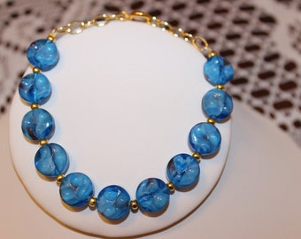 Blue Beaded Bracelet with Gold-Plated Spacers