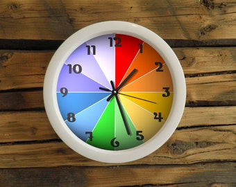 Rainbow classic clock with numbers or without numbers, wall clock. Clock for children. Kids room, white frame clock, colorfoul, modern clock