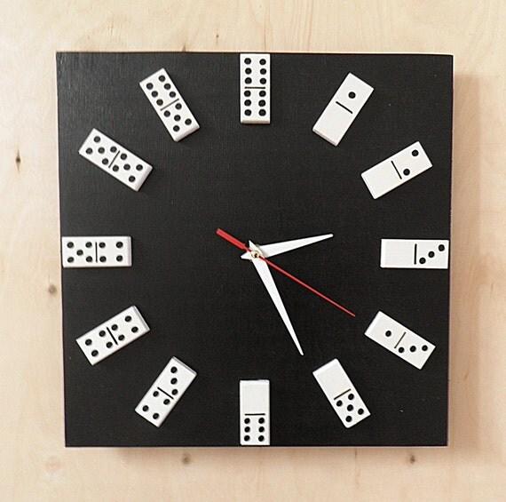Domino Clock Black Or White Colour Domino Clock By Birdsland